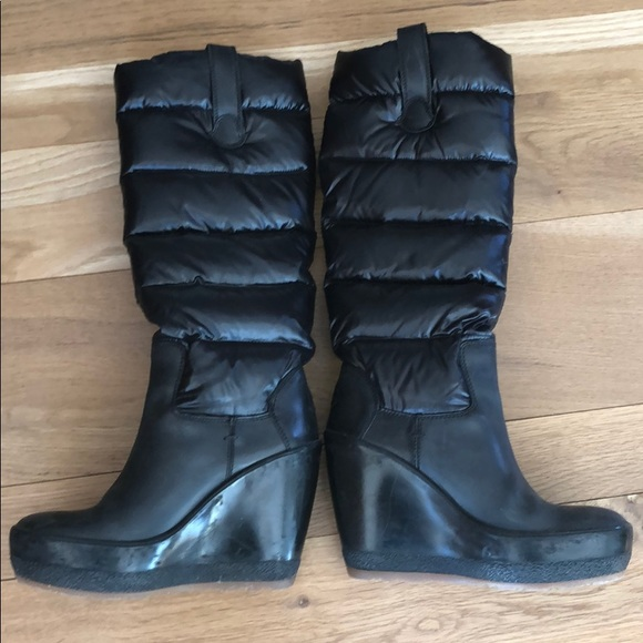 825c99a1c197 MONCLER Black Knee High Down Wedge Boots size 9. M 5c4c90be8ad2f9f8e8a55143